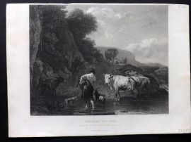 After Berghem C1860 Antique Art Journal Print. Crossing the Ford. Cattle